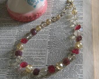 Vintage Plastic Crystal Beaded Necklace
