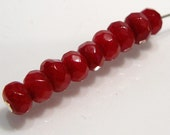 Dark Red Jade Faceted Rondelle Gemstone Beads...10 Beads....6mm