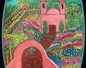 Original Modern Chimayo  Folk Art Acrylic Bold Color Painting on Retro Reclaimed tray Linda Kelly
