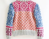 INGRID hand knit cardigan fair isle high fashion design jewel tones and light grey intarsia graphic