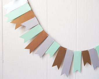 Gold Mint Silver Garland / Wedding Garland / Bunting / Skinny Flag Fringe Garland / Shiny Photo Prop