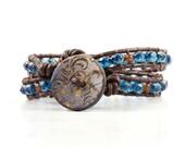 Cobalt Blue Bracelet Caramel Beaded Bracelet Brown Leather Wrap Bracelet Bohemian Jewelry Hippie Bracelet Tapestry Wrap Leather Jewelry