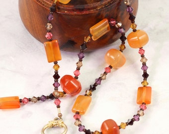 Carnelian Necklace Orange Garnet Amethyst Crystal Necklace Summer Jewelry Gypsy Colors Boho Fashion Topaz Pink Multicolor Necklace
