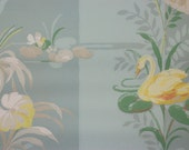 1940's Vintage Wallpaper Yellow Swans and White Lilies on Blue