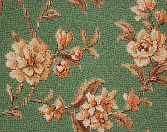1920s Vintage Antique Wallpaper Gold-Beige Flowers on Green Barkcloth by the Yard--Made in Belgium
