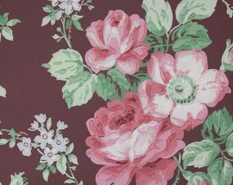 1940's Vintage Wallpaper Large Pink Cabbage Roses on Burgundy
