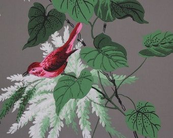 1940s Vintage Wallpaper Red Birds Green Leaves and White Flowers on Gray by the Yard