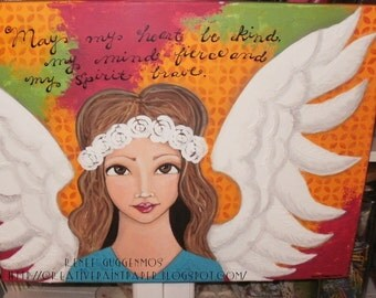 "Original Art Work OOAK 14x18  Mixed Media Acrylic ""My Your heart be Kind...."" Painting"