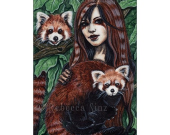 Affection Limited Edition ACEO Print Red Pandas Cute Artist Trading Cards ATC Fantasy Art Animals Shaman Fairy
