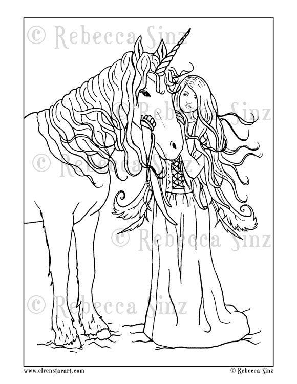 Coloring Page PRINTABLE Gothic Fairy Unicorn Fantasy Art
