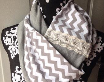 Grey chevron infinity scarf, lace scarf