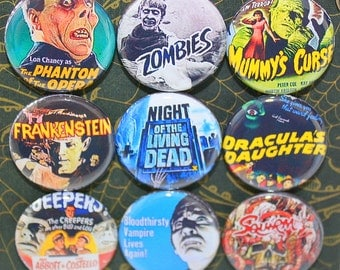 Classic Horror Movie Magnets - One Inch