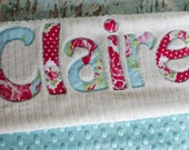 Monogrammed Baby Blanket in BREEZE, Red Dot Minky and White Chenille, Personalized with Your Baby Girl's First Name in Red Fabric Scraps