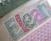 Monogrammed Baby Blanket in MORNING, Pink Dot Minky and Cream Chenille, Shabby Chic Lettering, Personalized with Your Baby Girl's First Name