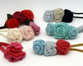 Headbands flowers CASHMERE reclaimed 100% handmade in USA recycled from sweaters OOAK elastic