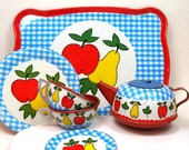 50s Tin Toy Tea Set, Apples & Pears, by Ohio Art Co. Tea for two.
