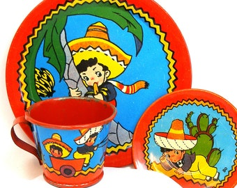 40's tin toy tea set with The Little Mexican Boy litho by Ohio Art Co.