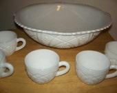 Milk glass punch bowl set/price reduced