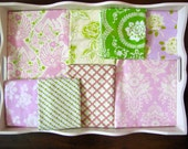 32x32 Heather Bailey Pink & Green Up Parasol Baby Blanket Made to Order