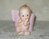 Lefton Kewpie Angel Planter Baby Girl Ceramic Vintage