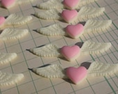 Heart Wings Resin Cabochons - Flat Backs Pink and White - 10 Pieces - 15mm x 52mm
