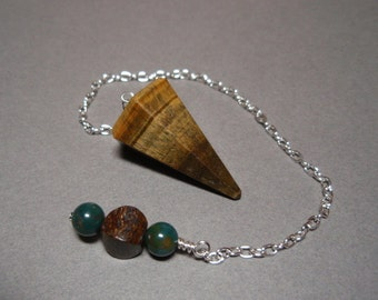 Golden Tigers Eye with Bronzite and Bloodstone Gemstone Dowsing Divination Pendulum