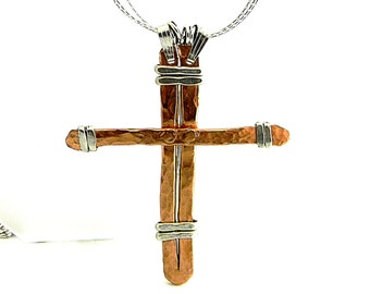 "Old Rugged Hand forged Cross Mixed Metals Sterling Silver and Copper on 19"" Sterling Silver Chain"
