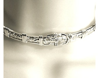 Made To Order Lockable Fancy Sterling Slave Collar with Symbolic Reef Knot Focal Element