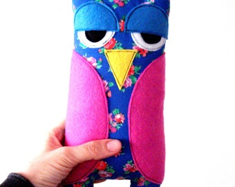 Blue owl with pink flowers -owl pillow plush blue decoration kids children toys plushed