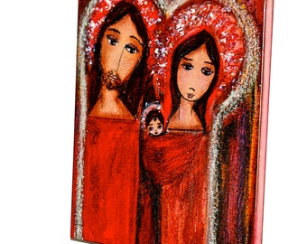 Christmas Day Nativity - Giclee print mounted on Wood (8 x 10 inches) Folk Art  by FLOR LARIOS