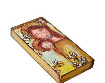 Saint Joseph with Child -  Giclee print mounted on Wood (3 x 6inches) Folk Art  by FLOR LARIOS