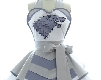 Retro Apron - Silver Wolf Womans Aprons - Vintage Apron Style - Pin up Suit of Armor Rockabilly Cosplay