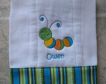 Personalized embroidered baby burp cloth - caterpillar boy