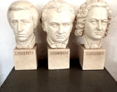 Vintage Signed Chalkware Sculptures Chopin Bach Schubert  Large Busts