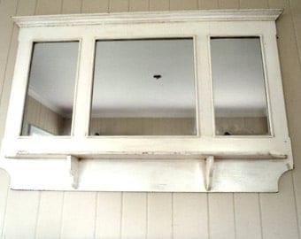 Vintage Large Mirror Headboard Mantel Shabby Chic Beach Cottage