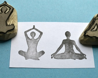 yoga meditation hand carved rubber stamps, handmade rubber stamp set