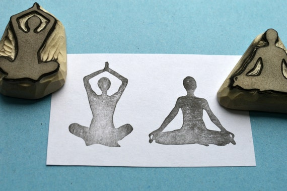 Yoga meditation hand carved rubber stamps handmade rubber stamp set