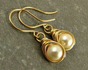 Ivory Pearl Earrings Wrapped in 14K Gold Fill Gifts for Her