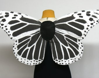 Made to Order Gothic Skeleton Butterfly Wings for Costume Black and White
