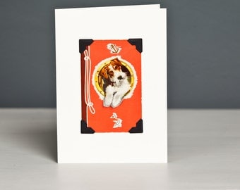 Wire Fox Terrier Greeting Card - Vintage Playing Card - Upcycled Dog Card