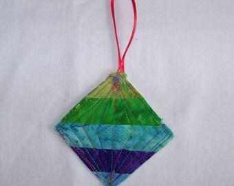 Scrappy Batik Quilted Ornament #3