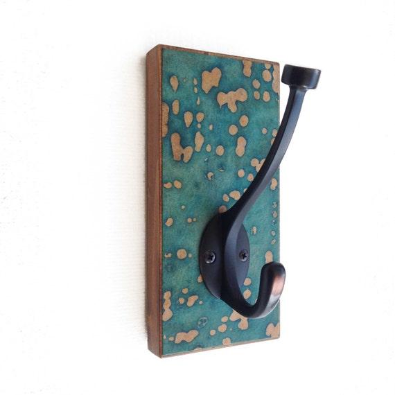Vintage Teal Wall Decor : Teal wall hook paper batik decor abstract green coat