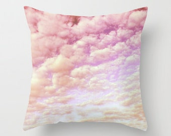 """Photo pillow """"Cotton Candy Sky"""" Decorative Throw Pillow cover,Cushion,Various Sizes,indoor nursery,bedroom,happy,rainbow,cloud,inspirational"""