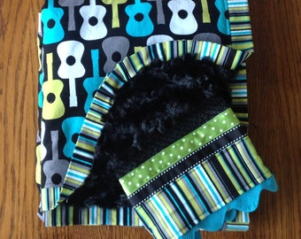 Black and Aqua Minky Guitar Blanket and Burp Cloth Set - CAN BE PERSONALIZED