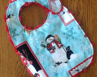 Snowman and Black Lab - Christmas Bib -  Minky Baby/Toddler Bib - LAST ONE