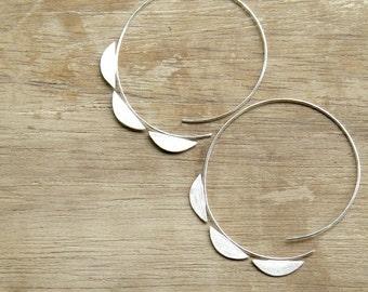 Big Sterling Silver Half Moons Open Hoops - handmade silver hoop earrings, 80s, geometric, gipsy, made in Italy