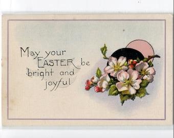 Easter Postcard  - Apple Blossoms, Pink Flowers vintage Easter post card