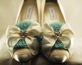 Marie Antoinette Ivory and Mint Lace Pumps
