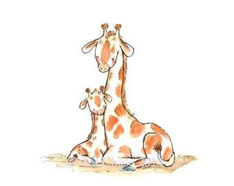 Nursery Art -- BABY MINE GIRAFFE -- Art Print