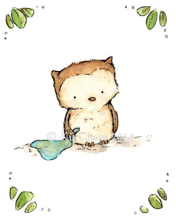 Nursery Art -- Little Owl -- Art Print